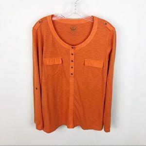 Zenergy By Chicos Shirt Orange Pockets Long Sleeve